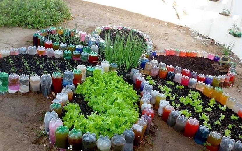 клумба Пластиковые бутылки