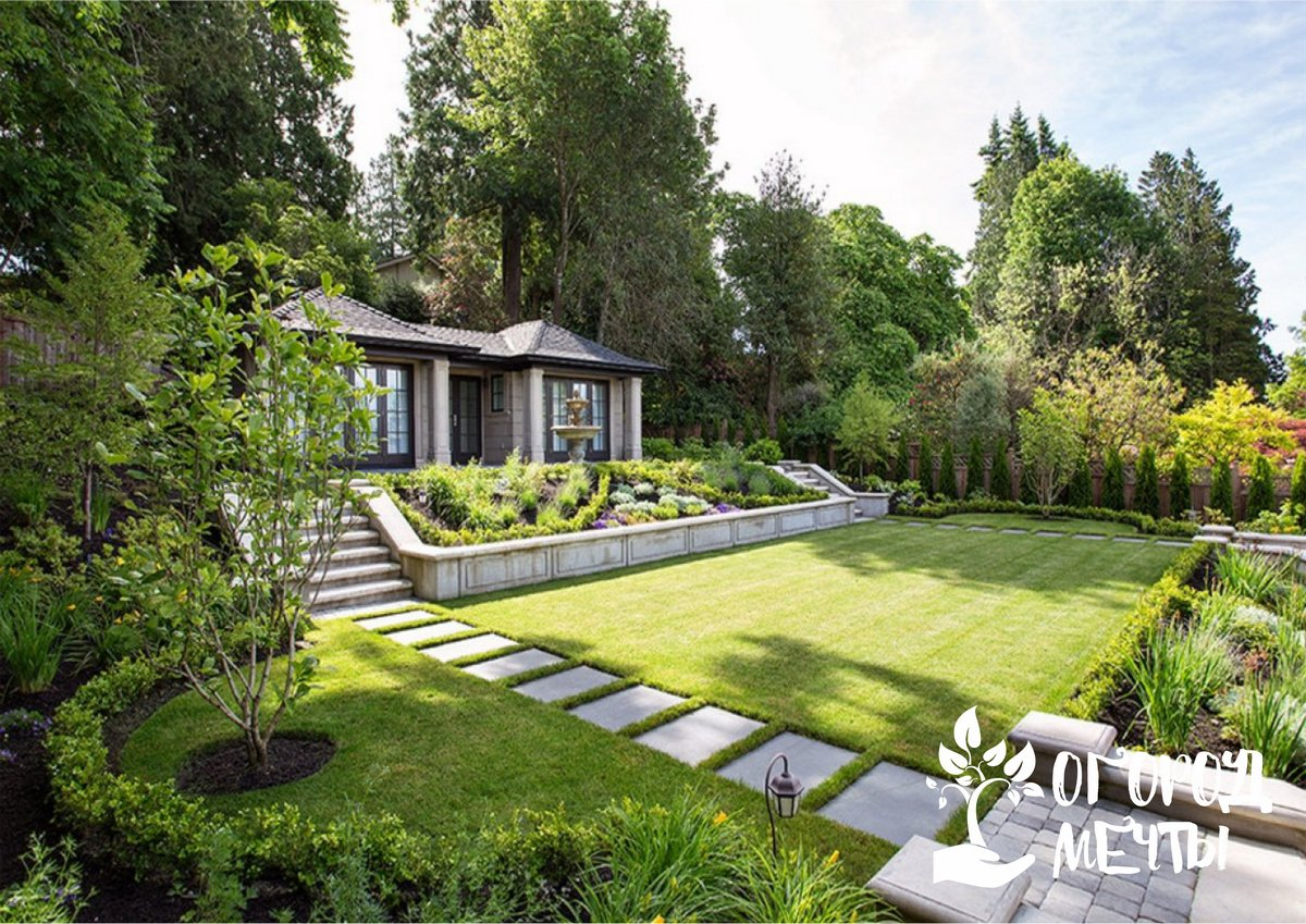 4. Зону насаждений, огорода также дизайнеры рекомендуют размещать за домиком